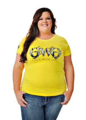 Womens Basic GWG Tee in Neon Yellow by Girls With Guns Plus Size