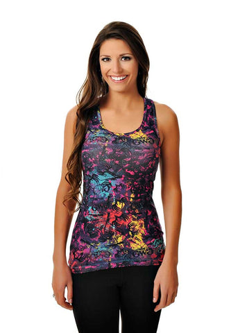 Womens Animal Print Tank in GWG Spray It Out by Girls With Guns Front View