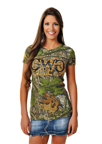 Womens Basic GWG Tee in Mossy Oak Obsession Camo by Girls With Guns Front View