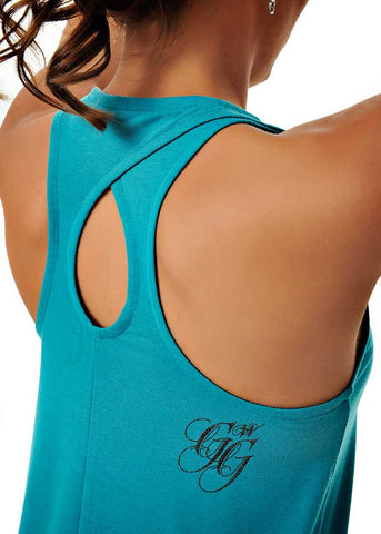 Womens Double Racer Twist Tank in Teal by Girls With Guns