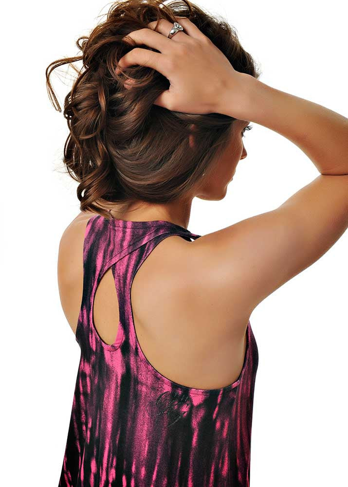 Womens Double Racer Twist Tank in Neon Pink and Black Ombre by Girls With Guns