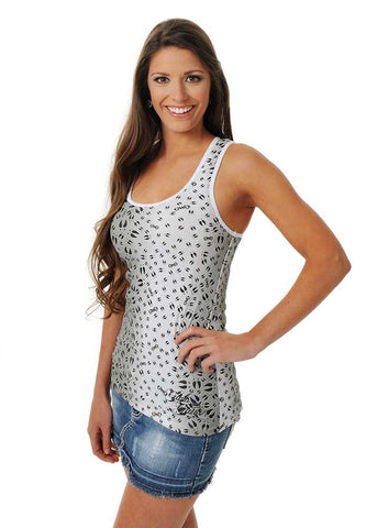 Womens Animal Print Tank in Black Ombre and Deer Tracks by Girls With Guns