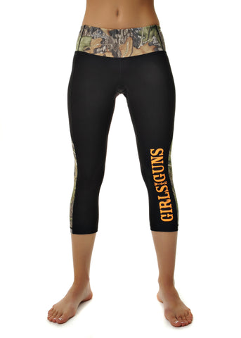 Womens Crop Running Pant  in Black with Mossy Oak Obsession by Girls With Guns Front View