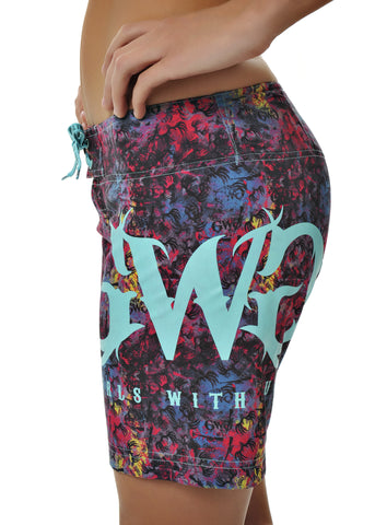 Womens Boardshorts in GWG Spray It Out by Girls with Guns Front View