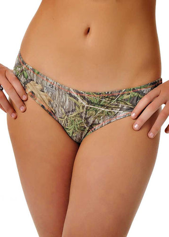 Womens Fringe Bikini Bottom in Mossy Oak Obsession Camo with Charcoal by Girls With Guns