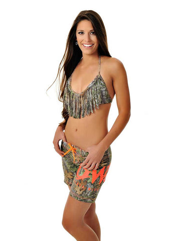 Womens Boardshorts in Mossy Oak Obsession Camo with Orange by Girls With Guns Full View