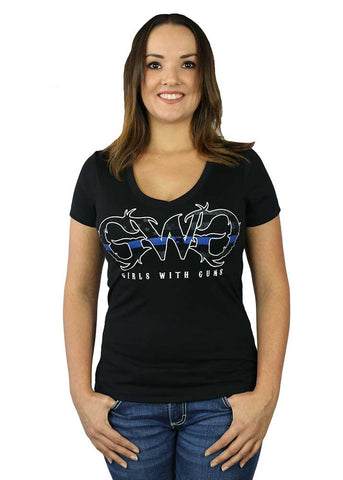 Womens Thin Blue Line Tee by Girls with Guns