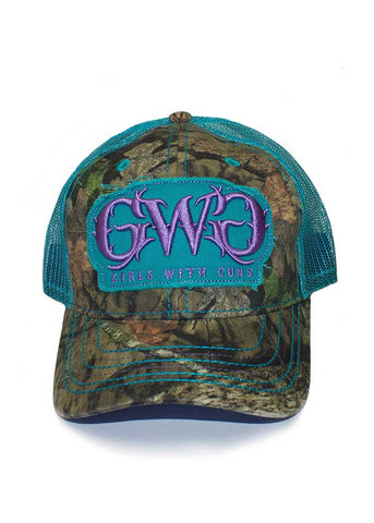 Womens Classic Logo Hat in Mossy Oak Country Camo and Teal by Girls with Guns