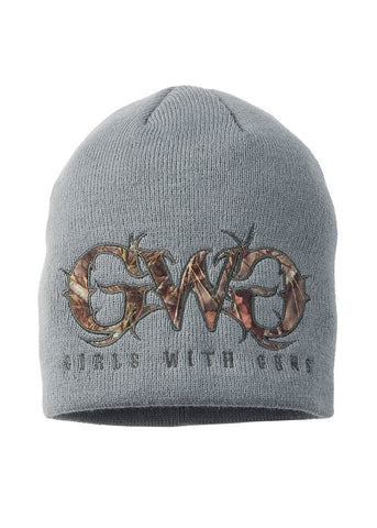 Womens Camo Logo Beanie Charcoal by Girls with Guns
