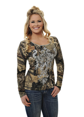 Womens Lace Top in Mossy Oak Break Up Country Camo by Girls With Guns