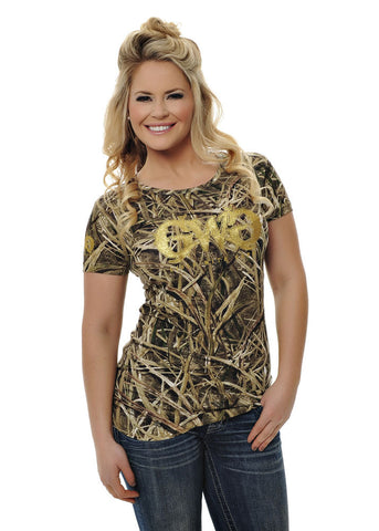 Womens Basic Tee in Mossy Oak Blades Camo by Girls With Guns