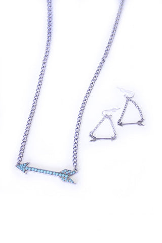 Arrow Necklace/Earring Set - Turquoise/Silver - Girls With Guns