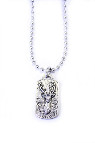 Buck Dog Tag Necklace - Silver - Girls With Guns