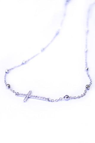 Cross Necklace - Silver - Girls With Guns