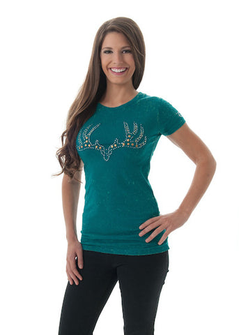 GWG Vintage Buck Tee Teal - Girls With Guns