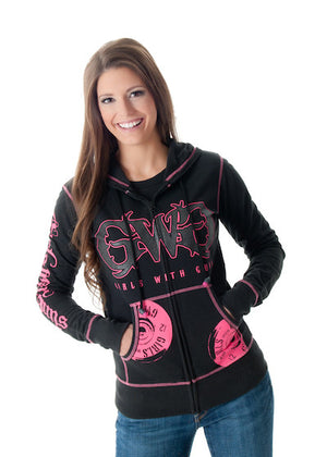 Shooting Hoodie - Zip Up Black - Girls With Guns