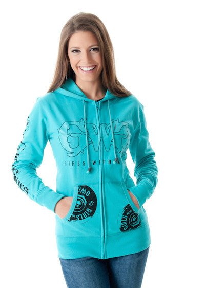 Shooting Hoodie - Zip Up Teal - Girls With Guns