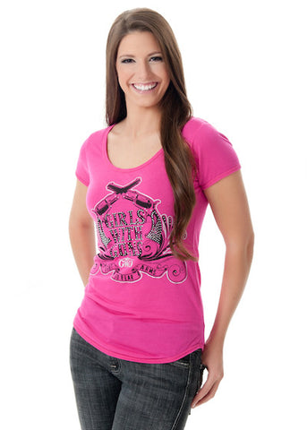 Crossing Pistols Tee Pink - Girls With Guns