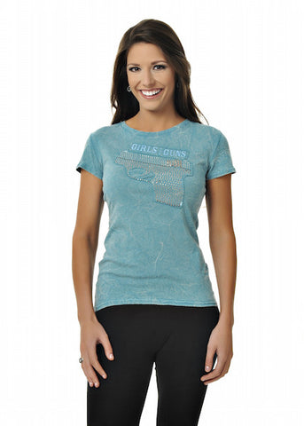 Gun Tee Teal - Girls With Guns