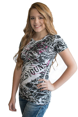 Black & White Camo Duck Tee - Girls With Guns - 1