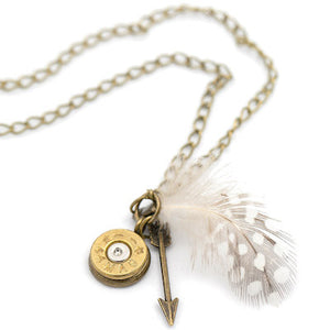 Feather Charm Necklace - Bronze - Girls With Guns