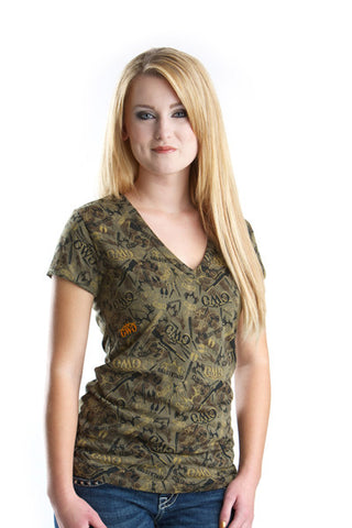 GWG Camo Collage Tee Olive - Girls With Guns