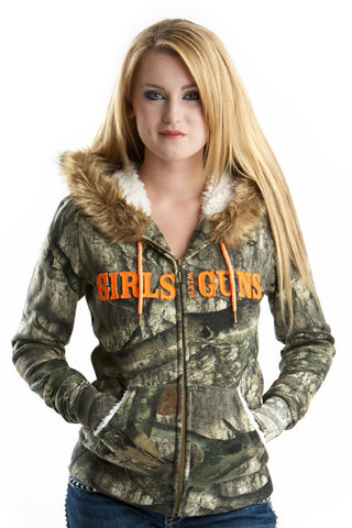 Mossy Oak Treestand® Fur Hoodie w/Orange - Girls With Guns