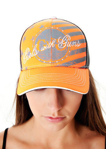 Freedom Trucker Hat Orange - Girls With Guns - 1