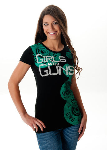 Shell Collage Tee BLK w/Emerald - Girls With Guns