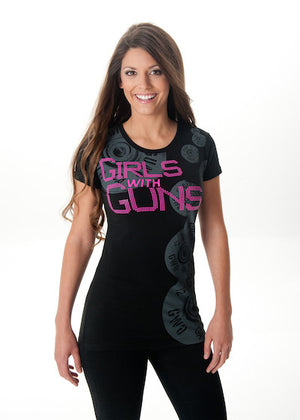 Shell Collage Tee Black w/Pink - Girls With Guns