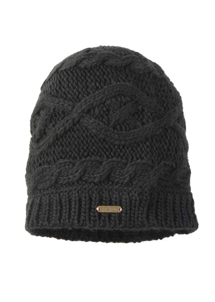 Womens Styled Up Slouch Beanie in Black by Girls with Guns