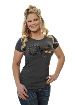 Womens Basic Tee in Charcoal by Girls With Guns