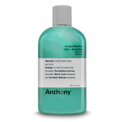 Anthony Invigorating Rush Hair plus Body Wash, 3.4 oz.