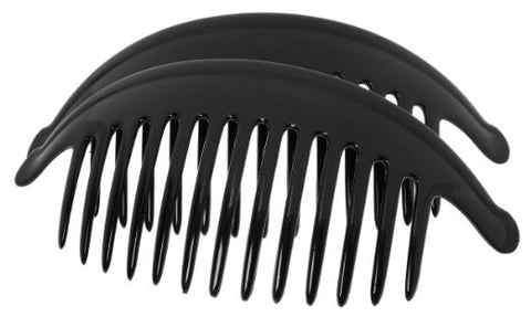 France Luxe Large Interlocking Comb Pair - Black