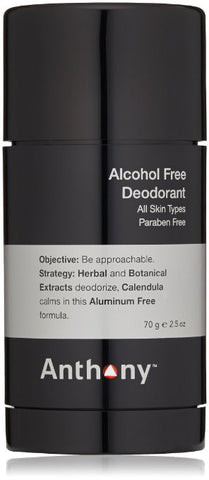 Anthony Alcohol Free Deodorant, 2.5 oz