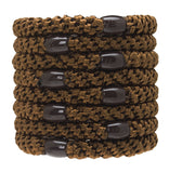 L. Erickson Grab & Go Ponytail Holders, Mocha, Set of Eight