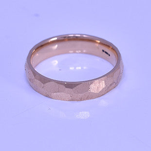 faceted and hammered rose gold gents ring