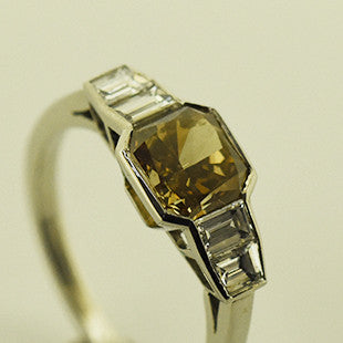 coloured diamond bespoke 2 carat ring
