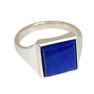 Lapis Custom Signet Ring in Silver