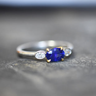 oval blue sapphire and diamond engagement ring, handmade, hatton garden