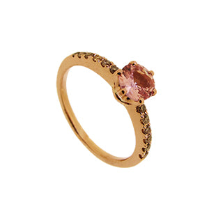 Pink Sapphire in Rose Gold Engagement Ring