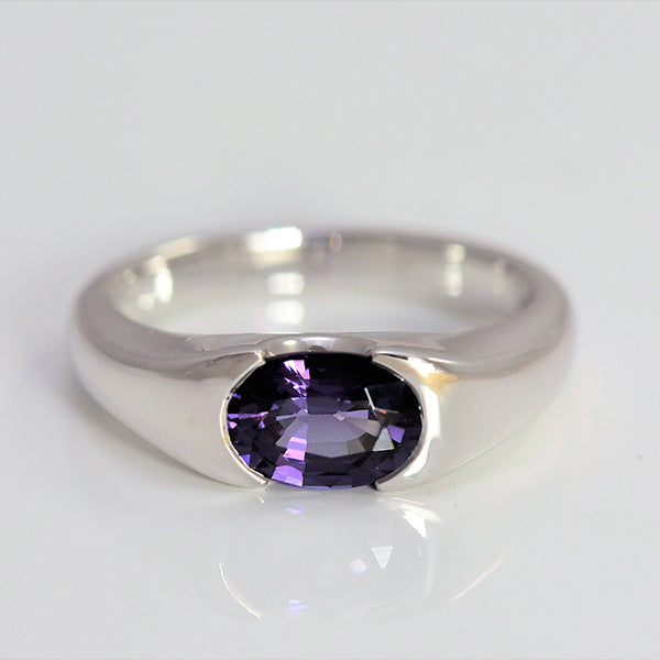 Purple Oval White Gold Ring