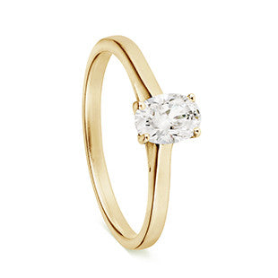 solitaire single stone ring yellow gold with oval diamond