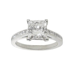 1 carat Princess Cut Diamond Solitaire Engagement Ring with Diamonds on the band