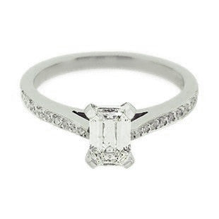 Emerald Cut Diamond Solitaire Engagement Ring with Diamonds on the band