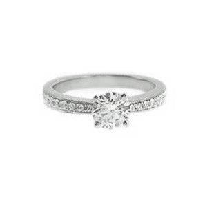 platinum solitaire diamond with diamond ring