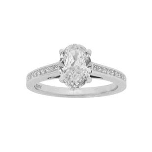 Oval Diamond Solitaire Engagement Ring with Diamonds on the Band
