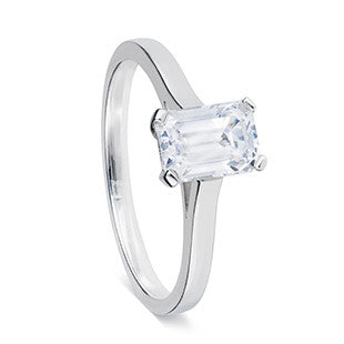 solitaire single stone ring silver with baguette diamond