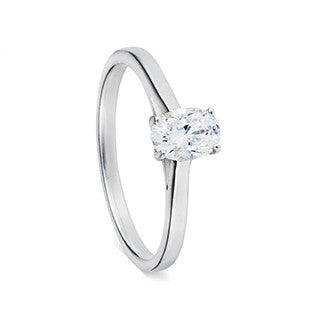 solitaire single stone ring silver with oval diamond