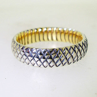 grooves yellow gold and platinum mens ring